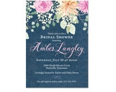 Floral and Navy Bridal Shower Invitations, Wedding Shower Invites, Rose and Peony, Blush, Printed with Envelopes
