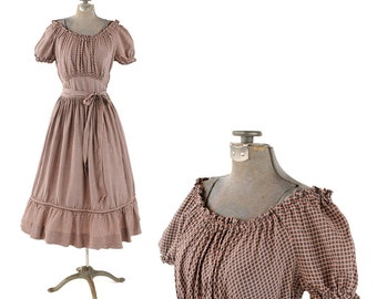 Vintage 1940's Gay Gibson Rayon Gray + Pink Windowpane Smocked Neck Puffy Sleeves Garden Party Dress S