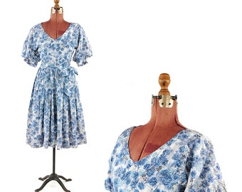 Vintage 1950's Blue Puffy Princess Sleeve Abstract Blue Novelty Floral Print Garden Party Dress S