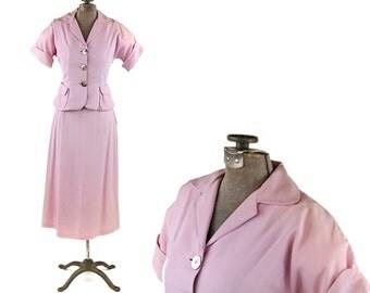 Vintage 1950's Pale Pastel Lavender Puple Two Piece Preppy Tailored Dolman Sleeve Suit Dress Set XS