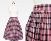 25% OFF SALE 1950s Plaid Skirt / 1950s Red Cotton Skirt / Plaid Skirt / 1950s Black and Red Plaid Skirt / Blue Red  High Waisted / 24 Waist