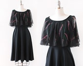 1970s Painted Leaver Dress / 1970s Capelet Dress / Pink and Black Dress / 1970s Black Dress / Extra Small