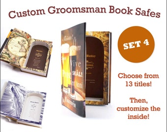 Custom Groomsmen Gifts - Book Safe - Set of 4 - Best Man Wedding personalized gift with your own message inside FREE SHIPPING
