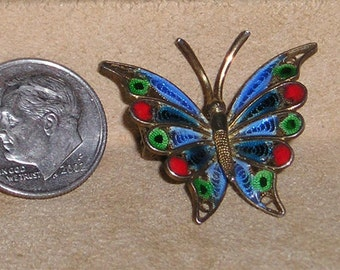 Vintage Signed 800 Silver Guilloche Enamel Butterfly Pin Brooch 1950's Jewelry 1048