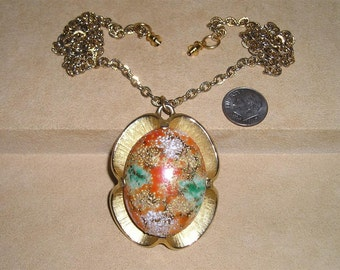 Vintage Judy Lee Glass Easter Egg Necklace 1950's Signed Jewelry 7069