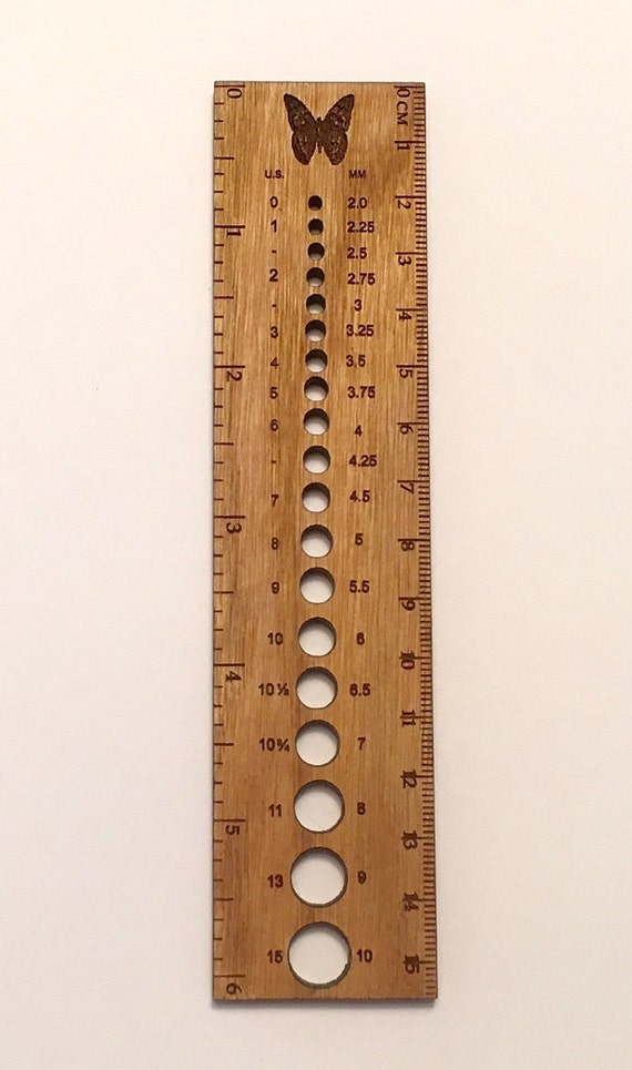 Knitting Gauge Ruler : Retromantic fripperies knitting needle gauge ruler in a