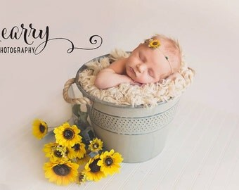 Tiny Sunflower Tieback Newborn Tieback Headband RTS Photo Prop Newborn Photo Prop Sunflower Headband