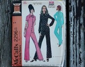 McCall 2296 1970s 70s Button Front Disco Era Jumpsuit Jumper  Vintage Sewing Pattern Size 12 Bust 34
