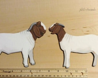 """2 Boer Goat Magnets, 6.5"""" hand cut out hand painted, buck and doe,"""