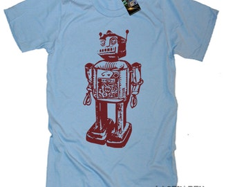 On Sale / Ships Same Day / Vintage Robot Science Geek TShirt / Baby Blue / Size LARGE