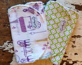 SALE CHOOSE Burp Cloths or Bibs - Set of 2 - Paris in Lavender and Green Quatrefoil - Baby Girl - Eiffel Tower