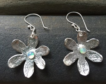 Sterling flowers with Ethiopian opal earrings