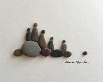 Family of five pebble art 6 by 8 by sharon nowlan