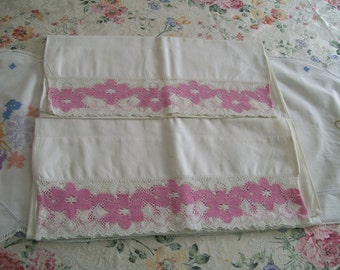 Embroidered Pillowcase Set of 2 Pink Lace Border