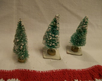 """Vintage Bottle Brush Trees for Crafts Lot of 3  Miniature 2"""" Trees Small Tiny Christmas Trees for Christmas Crafting Projects Wood Bases"""