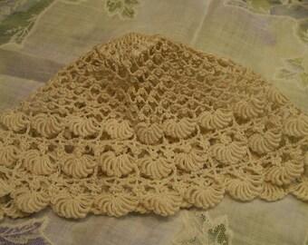 Vintage Crocheted Bonnet for Baby Ecru Tiny Baby Cap