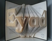 Personalized birthday gift-name plaque-any name with 4 letters-Folded book art-made to order.