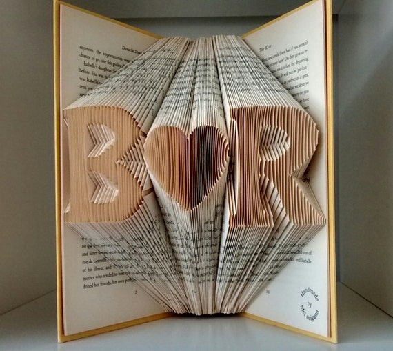 Personalized wedding annivesary gift-Initial Folded Book Art-made to ...