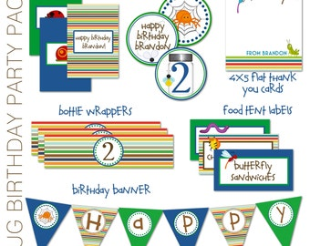 Bug Birthday Party Pack - Bug Mini Candy Bar Wrappers, Bug Cupcake Toppers, Bug Water Bottle Wrappers, Thank you cardsFood Tents - Printable