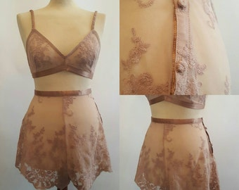 Handmade Sheer Champagne Lace French Knickers and bra. U.K Sizes 6,8,10,12,14,16