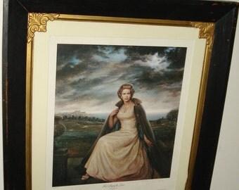 Rare Genuine Lithograph of Queen Elizabeth Hand Signed