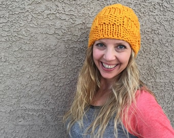 Checkerboard Beanie in Apricot Basketweave Hat Knit