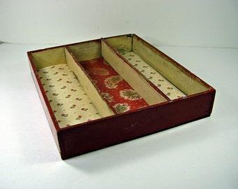Vintage KITCHEN UTENSIL DRAWER Rustic Storage Bin Primitive Barn Red Wood Box Pencil Box Office Organizer Tool Caddy