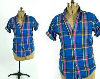 SUMMER CLEARANCE Vintage 1980s Bright Blue Rainbow Paper Thin Plaid Short Sleeve Boyfriend Button Down Shirt Camp Blouse Size M Medium L Lar