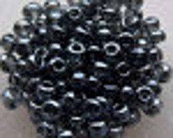 6/0 Translucent Gunmetal Black Seed Beads, 4mm, Czech, Preciosa, 20 grams (270 - 300 Beads) CLEARANCE SALE!!