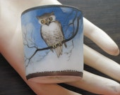 Vintage Nippon Hand Painted Owl Decorated Mini Tumbler Toothpick Holder - FREE SHIPPING