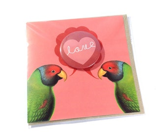 SALE - SEL - Love Valentines Lovebirds Large Badge Blank Eco Friendly Square Greeting Card