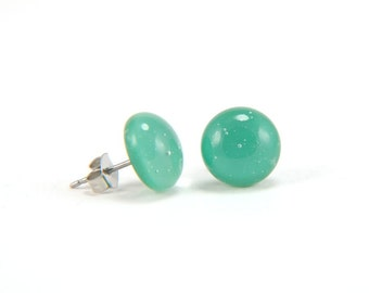 Jade green and clear glass stud earrings with surgical steel earring posts