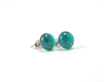 Emerald green bubbles fused glass stud earrings full of tiny bubbles with surgical steel posts, emerald green