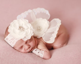 Adorable Newborn Wings, Matching Rhinestone Flower Headband And Newborn Wrist Cuffs, Newborn Photo Prop,