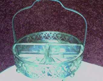 Vintage Sectional Clear Glass Serving Dish in Elegant Frame