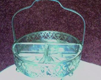 Vintage Sectional Clear Glass Serving Dish in Elegant Frame