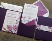 Purple Watercolor Flowers Wedding Invitation Sample | Flat or Pocket Fold Style