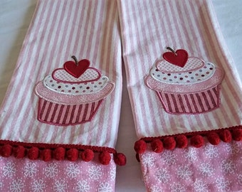 Appliqued Cupcake, Pink, Red and White Towels.  Set of 2.