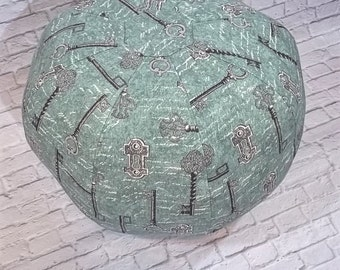 Key Script Rain Turquoise Floor Pouf/Pillow Shell