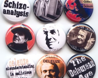 "Gilles DELEUZE Postmodern French philosophy Set of 9 Hand Pressed Pinback 1"" Buttons Badges Pins"