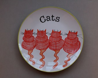 Plate-Hand painted plate - size 10 inches in diameter- Cats- dinner plate -Ceramic hand painted plates.