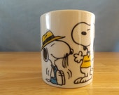 """Vintage Snoopy and Spike Ceramic Coffee Cup/Mug  / """"Beagles are my Favorite People!""""/ Peanuts Characters United Features 70's"""