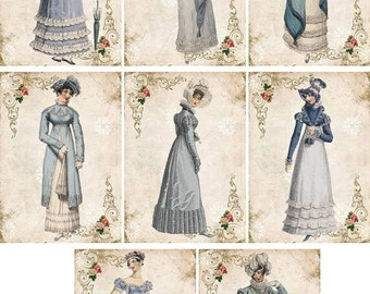ON SALE Jane Austen Regency stationery with 8 ivory envelopes