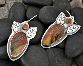 cherry creek jasper sterling silver earrings.  Artisan earrings handmade