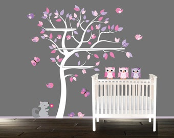 Vinyl Tree decal, Shelf tree, vinyl wall tree decals, tree wall decal, Owl wall decal