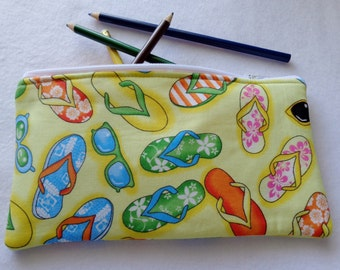 Flip flop and Sunglass print Pencil Case/ Crayon Case/Makeup Bag/ Cosmetic Case/ Ready to Ship