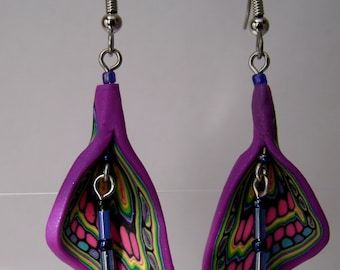Handmade Polymer Clay  Multi-colored butterfly Earrings