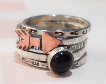 Arrow Personalized Stacking Ring in Sterling Silver and Onyx