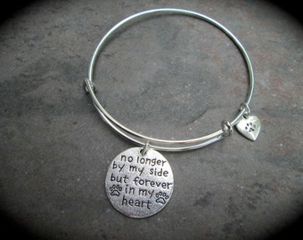 Pet Memorial bracelet with paw heart charm No Longer By My Side But Forever In My Heart Pet Sympathy Gift