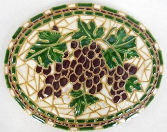 "WINE GRAPES Mosaic Wall Art Handmade Ceramic Tile  9 1/2"" x 12"" Oval"